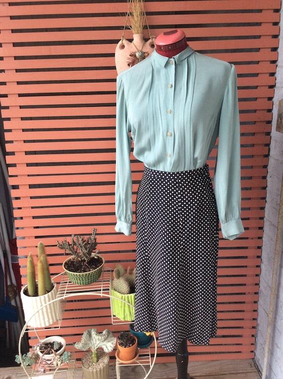 1940s polka dot a line skirt rayon