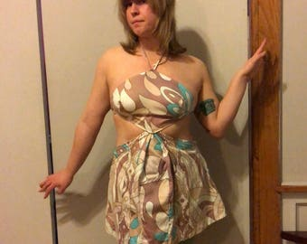 1970s Cotton psychedelic Midriff Cutout Halter tunic