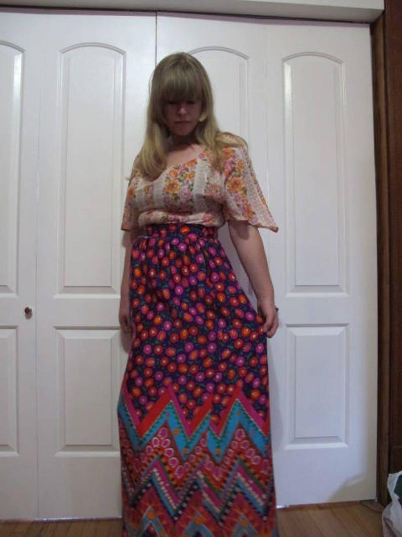 1960s Psychedelic Alex Colman Maxi Skirt sz M