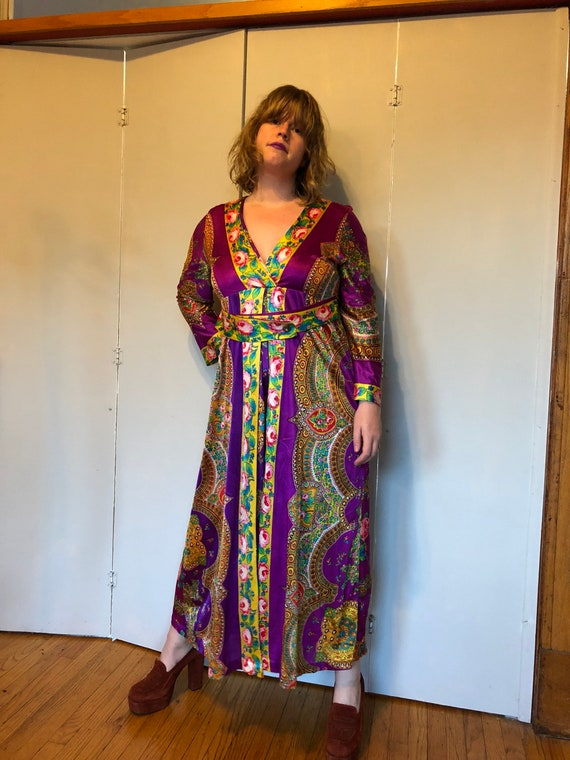 1970s Purple Paisley and Rose Palazzo apit dress j