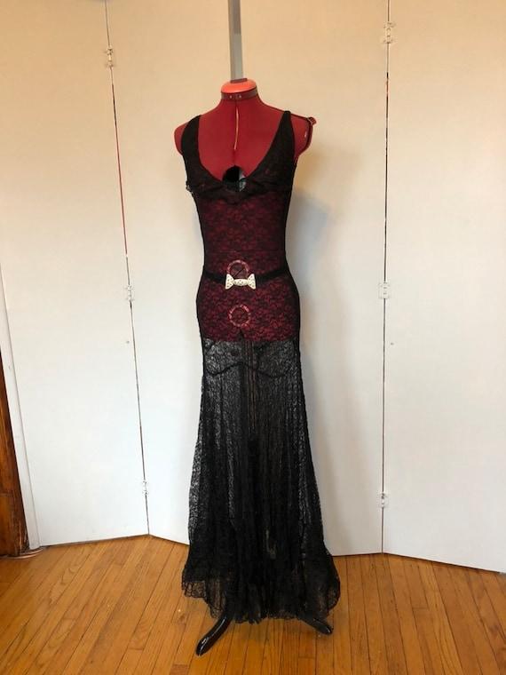 1930s black lace bias cut gown as is sz s