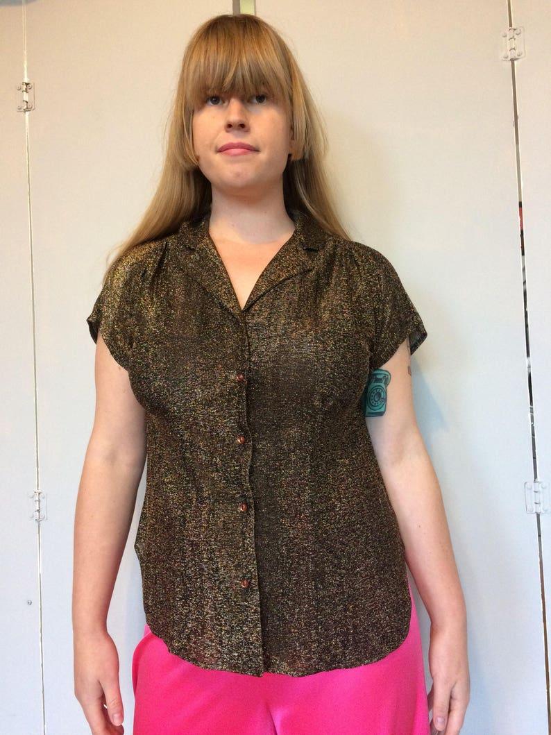 1970s copper lurex blouse sz m  l
