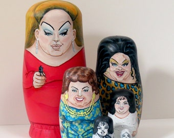 Divine themed, hand-painted 6 Piece Nesting Doll Set