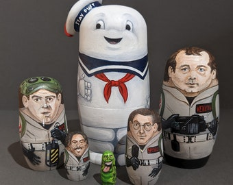 Ghostbusters themed, hand-painted 6 Piece Nesting Doll Set