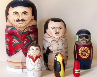 Magnum, P.I. themed, hand-painted 6 Piece Nesting Doll Set