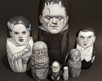 Classic Movie Monsters hand painted 7 Piece Nesting Doll Set