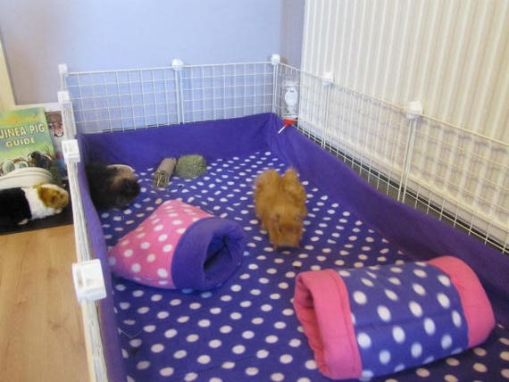 Custom Guinea Pig Fleece Cage Liner Flat Or With 6 Or 12 Inch Etsy