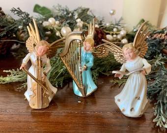 Frosted Plastic With Gold Tone Trim Vintage Angel Ornament Ornament Or Stand Alone Angel Playing Horn Retro Tree Trimming