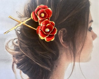 Red Rose Hairpin Etsy