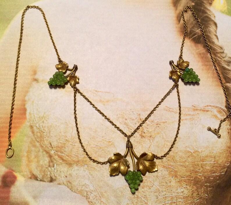 Victorian Grape Necklace Grape Festoon Antique Vintage Grapes Bib  Edwardian Bride Bridal Vineyard Wedding Spring Easter Gift for Her