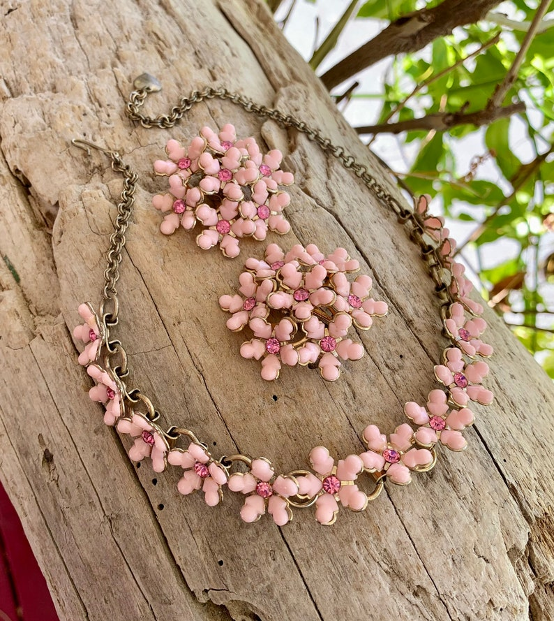 Thermoset Pink Necklace Choker Earrings Set Vintage Demi Parure 1950 1960 Retro Floral Bride Bridal Spring Mother\u2019s Day Gift