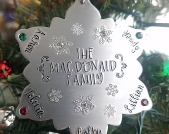 Personalized Family Names Christmas Ornament Custom Name And Birthstone Hand Stamped Snowflake Gift