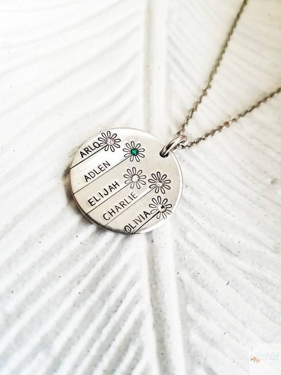 Flower Birthstone Necklace For Grandmother Gardening Etsy