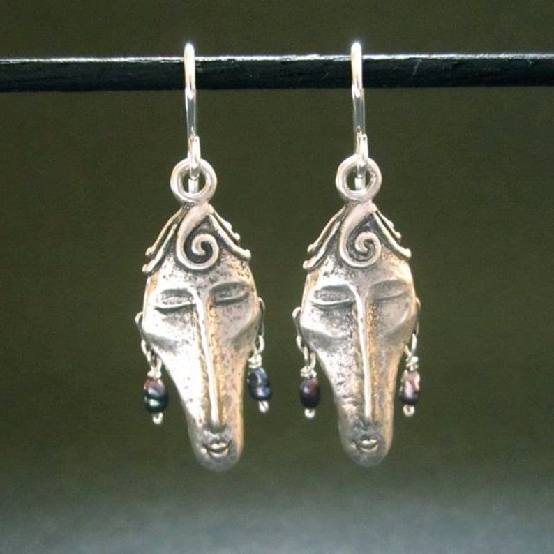 8e9934a1142e5 Silver Face earrings, dangle earrings, recycled silver made in USA