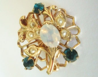 Vintage Opal, Emerald Rhinestones, Pearl, Gold Brooch, Flower, Jewelry, Accessory, Costume Jewelry, Pin, Brooch