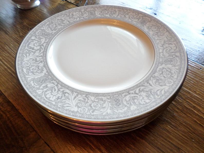 White Floral /& Leaves On Gray Platinum Vintage Franciscan Masterpiece China Platinum Renaissance Dinner Plates Set Of 6 Dining
