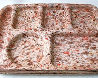 Vintage Brown Confetti Speckled Prolon Ware Melmac Lunch Trays Set of 4 Brown, Orange, Red, Biege
