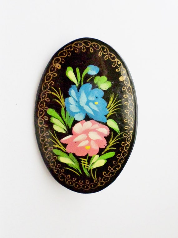 Russian Pin  Brooch  Oval  White Flowers and Foliage