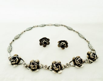 Vintage 1940s Coro Sterling Craft Cabbage Rose Necklace And Screw Back Earrings Set, Sterling Silver, Designer Massa Raimond Jewelry Set