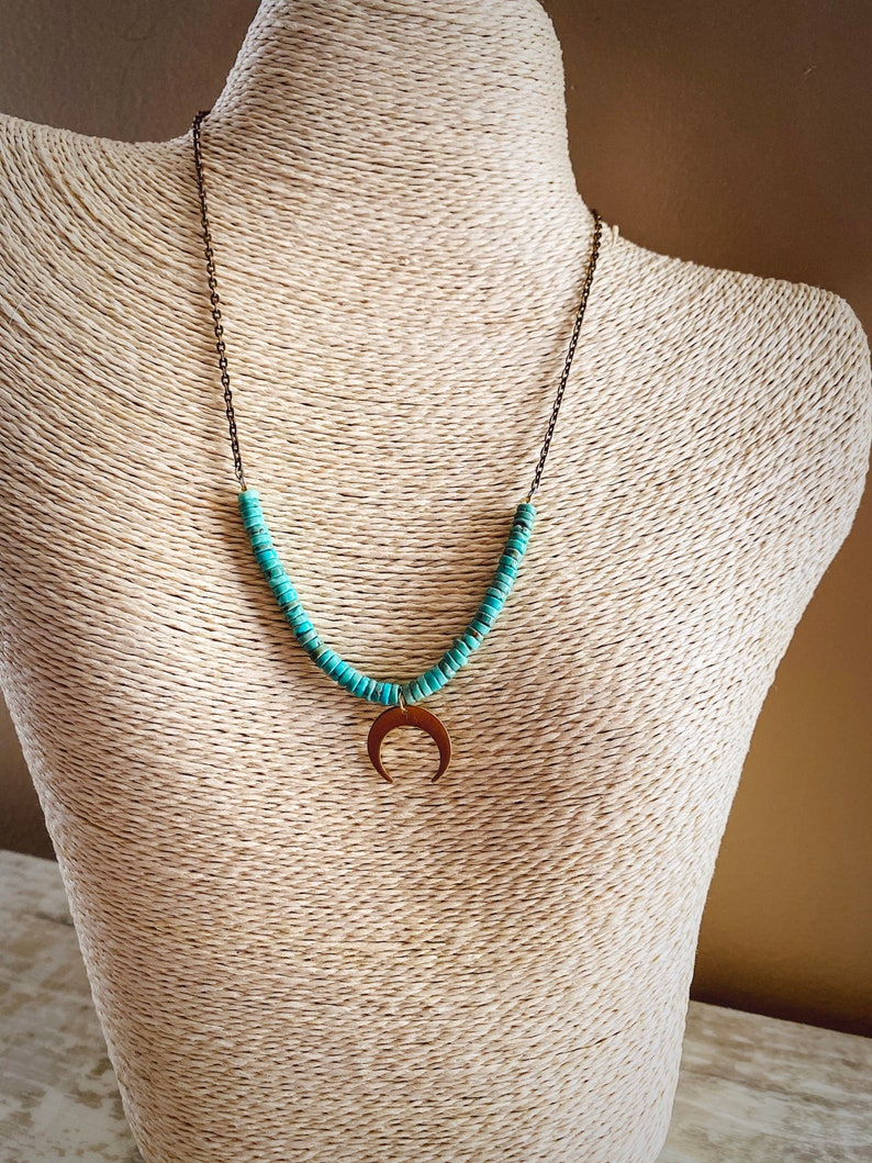 Turquoise Moon Charm Necklace