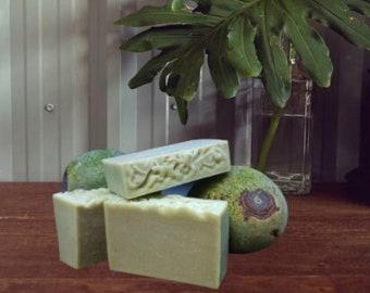 AVOCATTITUDE (Avocado Attitude) Soap ~ Oakmoss and Amber Scented ~ Fresh California Avocado ~ Natural Old-fashioned Cold Processed Bar Soap
