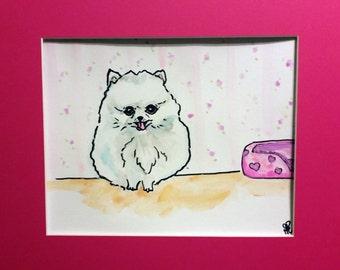 Original 8x10 Pomeranian Watercolor