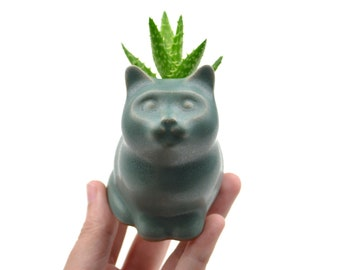 Small kitty planter - cat planter, ceramic planter - turquoise green - made in Brazil