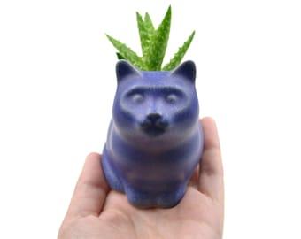 Small kitty planter - cat planter, ceramic planter - blue - made in Brazil