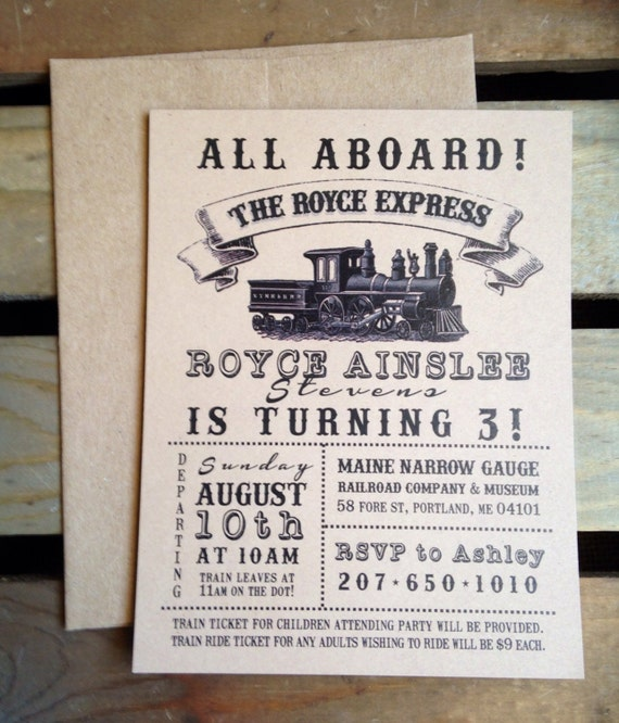 Birthday Invitation VINTAGE Train Party Custom Boy