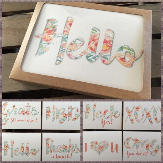 Fun Floral Assorted Greeting Cards Box Set Of 8 Hello OMG