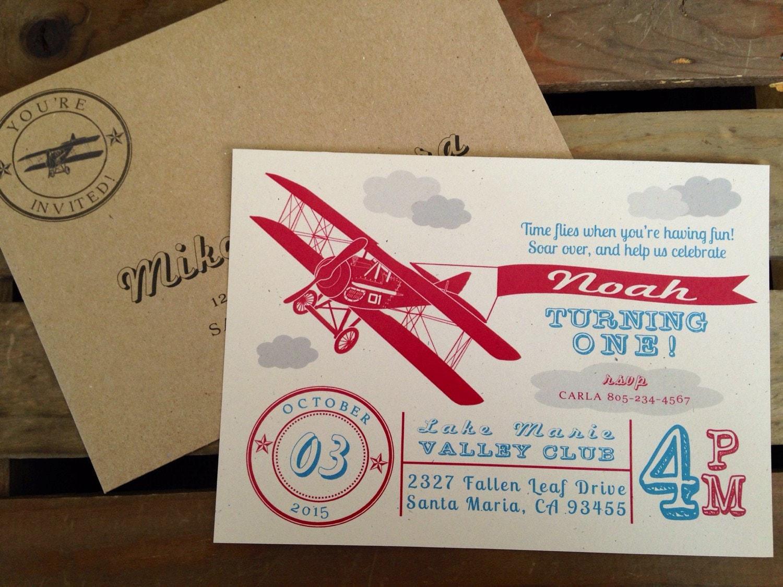 Vintage Airplane Themed Invitation Raised Clouds CUSTOM   Etsy