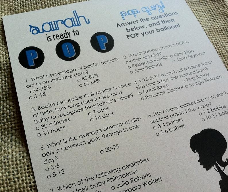Ready to POP Quiz - Baby Shower Game - Custom - Blue - Pink - Eco Friendly  - Recycled - Set - DIGITAL Printable DIY