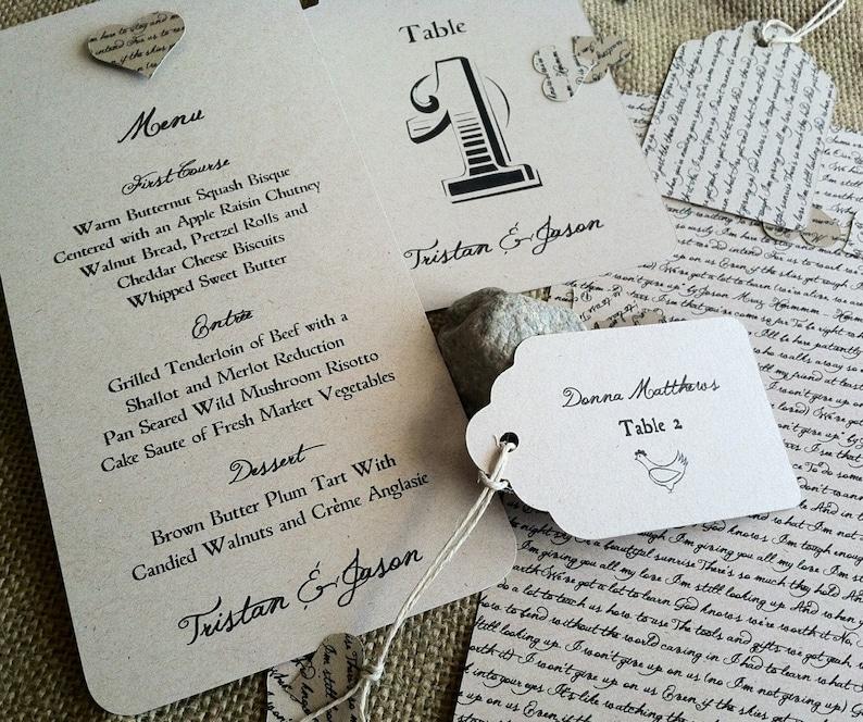 RUSTIC Wedding Reception Set - Lyrical Love Collection - Song Lyrics -  Table No - Placecard - Menu - Program - VINTAGE - Recycled - Eco