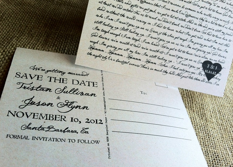RUSTIC Save the Date Postcards - Lyrical Love Collection - Song Lyrics -  Recycled - Eco Friendly - Budget Friendly - Heart - SAMPLE
