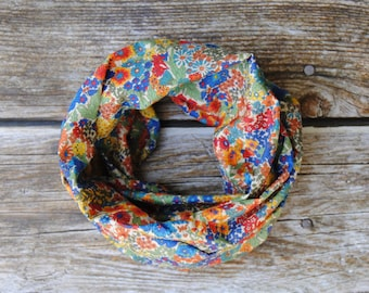 Toddler infinity scarf, floral toddler scarf, baby scarf, kids infinity scarf, toddler girl scarf with flower print
