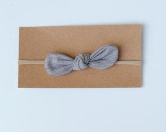 Nylon headband, small bow headband, skinny bow,  baby shower gift, grey bow baby girl headband, knot bow headband, newborn headband