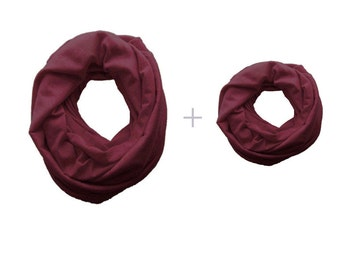 Mommy and Me Infinity Scarf Set, maroon toddler Infinity Scarf, Mommy and Me Clothing