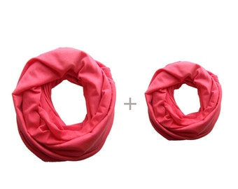 Mommy and Me Matching Infinity Scarf, Coral Pink Toddler Infinity Scarf, Mommy and Me Clothing