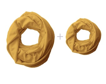 Mommy and Me Matching Infinity Scarf set, mustard yellow Toddler Infinity Scarf, Mommy and Me Clothing, Choose your color!