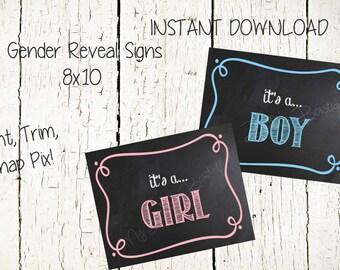 Gender Reveal Sign Instant download 8x10 Dollar Download