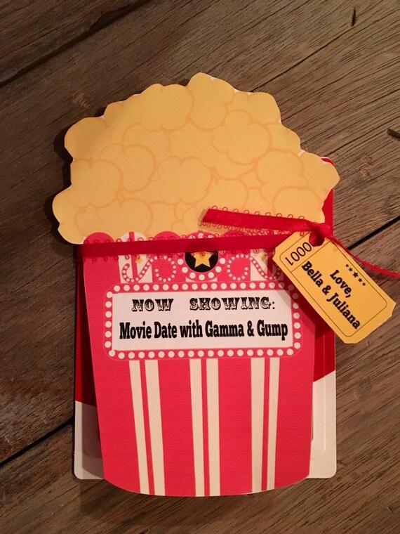 Angepasste Film Geschenk Karte Halter Film Nacht Geschenk Karte Halter Date Night Karte Printable Geschenk Geschenkkarte