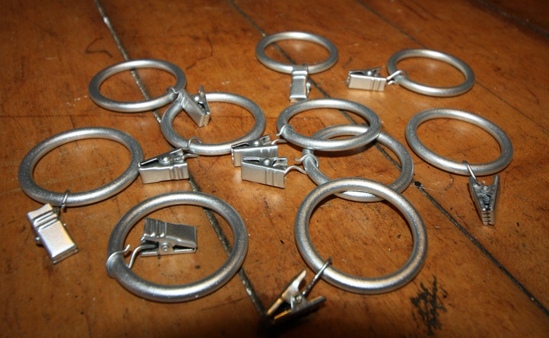 Lot Of 10 15 Inch Brushed Silver Tone Plastic Curtain Rings Etsy