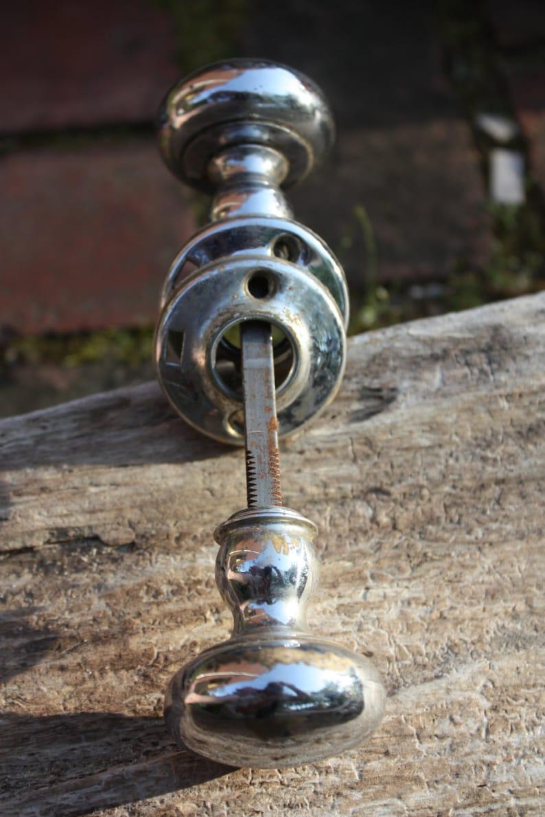 Vintage Pantry Door Knob set Silver Tone Metal Face Plate ...