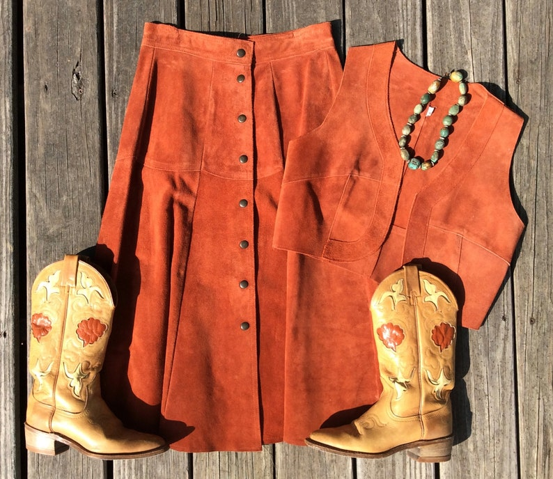 eee8ad880 Vintage 70s Rust Color Suede Skirt and Vest Set Size S/M | Etsy