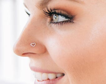 Tragus Stud Minimalist Dainty Sterling Silver Horseshoe Nose Stud L-Bend Luck Sterling Silver Wire Nose Ring