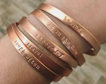 Custom Copper Cuff Bracelet - Thin Bracelet Perfect For Stacking - Hand Stamped with  / Name / Saying of Your Choice - Shiny Rose Gold Tone