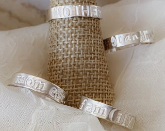 Personalized Sterling Silver Band Ring - Hand Stamped - Made in the USA - Mothers Day - Anniversary