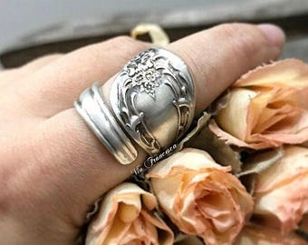 Custom Spoon Ring - Floral Wrap - Hand Stamped Vintage Silverplated Spoon Ring - Personalized - Made in the USA