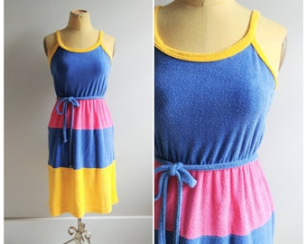 0f86b3c4a1533 Vintage 1970s Terry Cloth Cover Up Dress Rainbow Summer