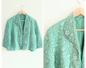 Vintage 1950s 50s Teal Green Brocade Beaded Rhinestone Collar Swing Jacket Coat Bolero